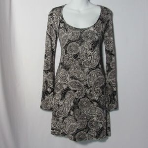 Gypsy Warrior Bell Sleeve Dress Brown Paisley Sz M